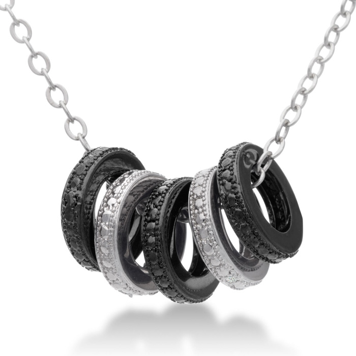 Black & White Diamond Ring Necklace, 18 Inches, J/K by SuperJewel