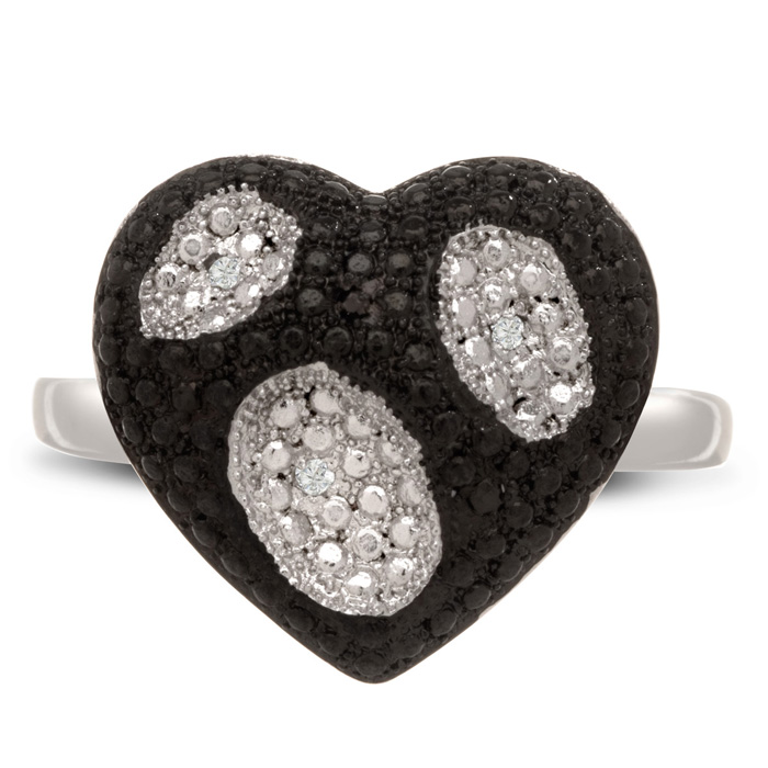 Black & White Diamond Heart Cocktail Ring, J/K by SuperJeweler