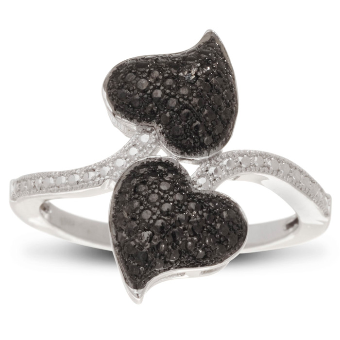 Black & White Diamond Double Heart Cocktail Ring, J/K, Size 5 by