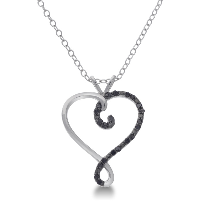 Black Diamond Sterling Silver Swirl Heart Pendant Necklace, 18 In