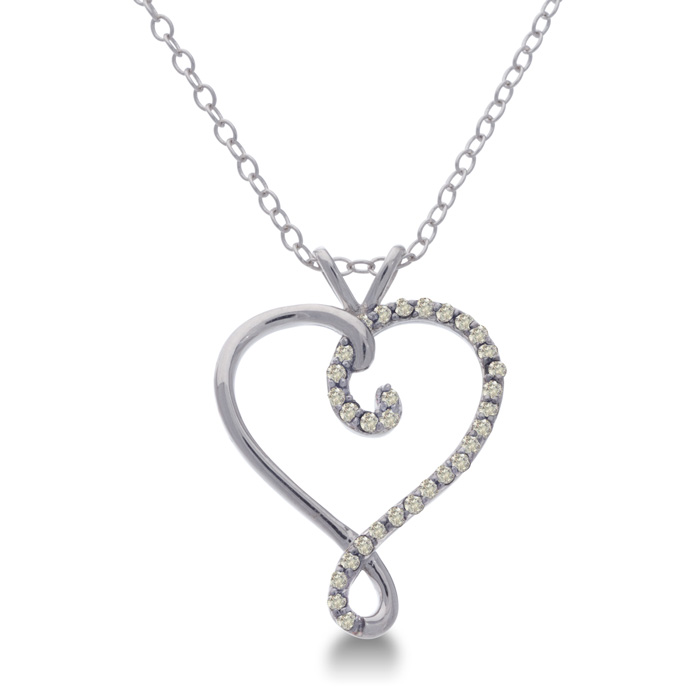 Sterling Silver Diamond Swirl Heart Necklace, 18 Inches, J/K by S