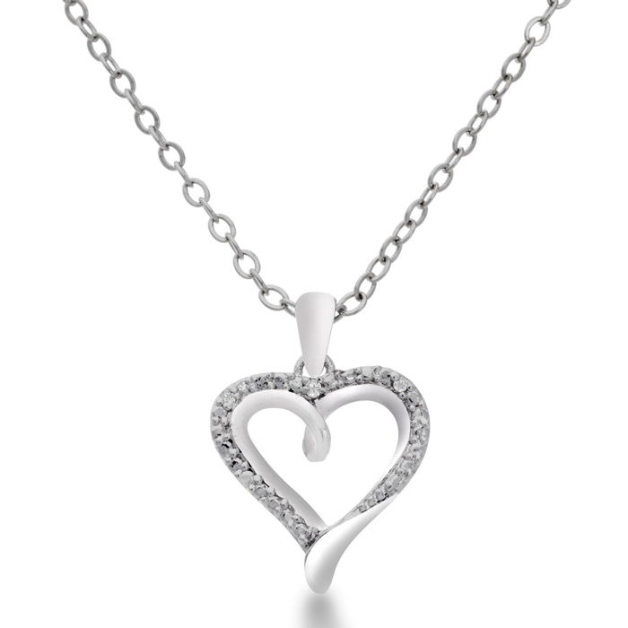 Dainty Diamond Heart Pendant Necklace, 18 Inches, J/K by Hansa