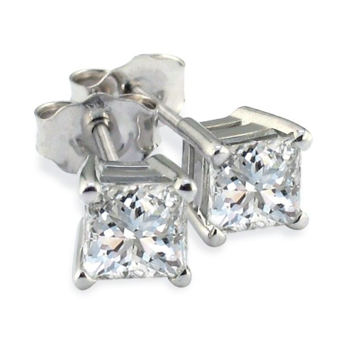 Platinum 1 Carat Princess Cut Diamond Stud Earrings, Fine SI Qual