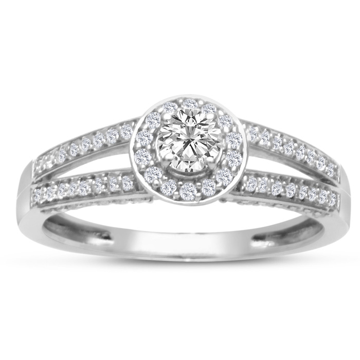 1/2 Carat Halo Diamond Engagement Ring in White Gold (3.3 g), Split Shank, H/I by SuperJeweler