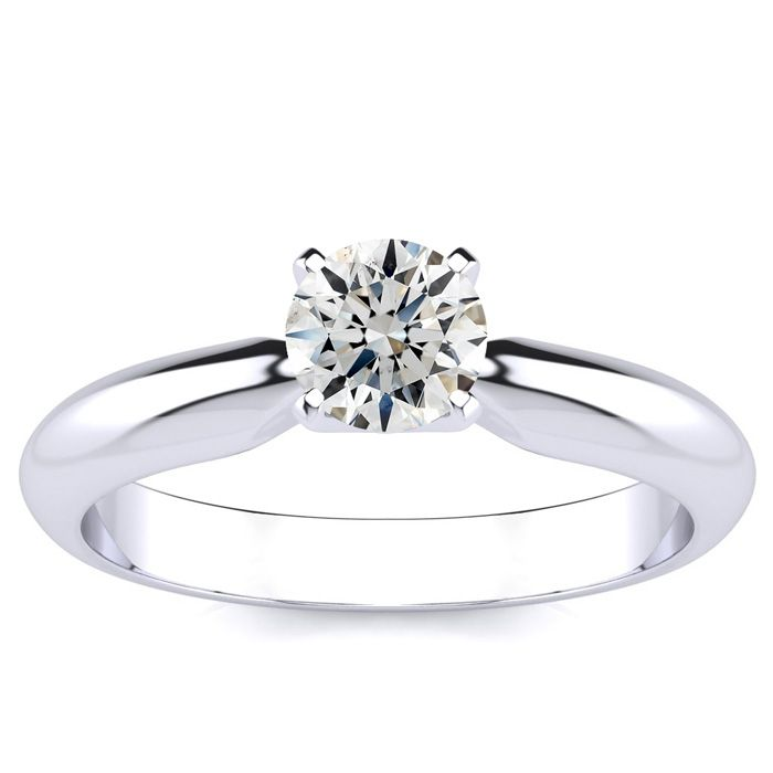 1/2 Carat Round Shape Diamond Solitaire Ring in Platinum (G-H, SI1-SI2) by Hansa