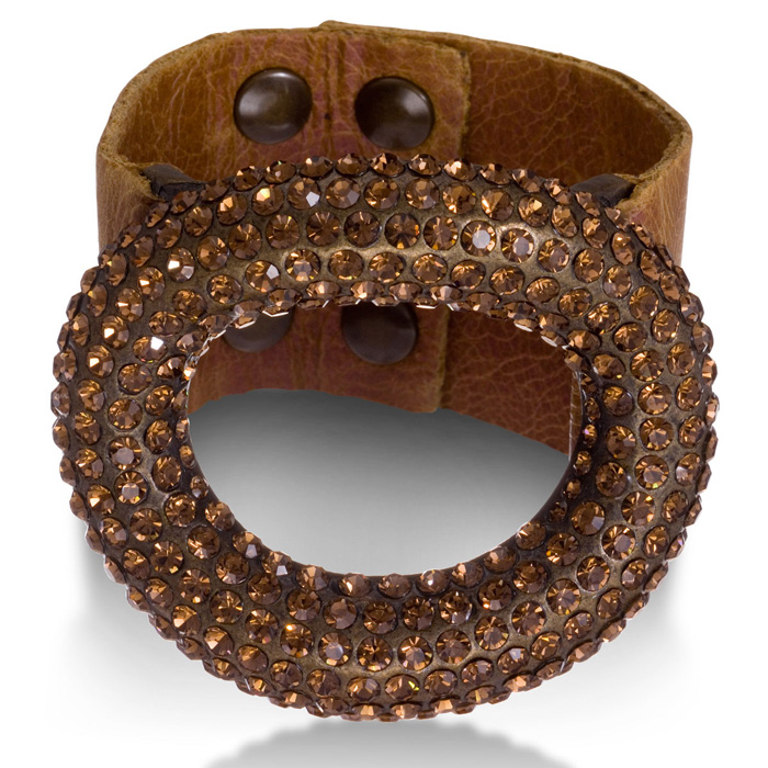 Brown Leather Rhinestone Studded Dome Bracelet, Fits