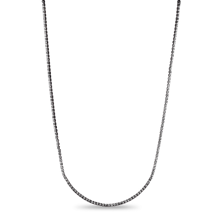 Gunmetal Crystal Adorned Bar Necklace, 18 Inches by Passiana