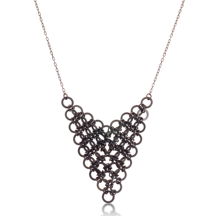 Trendy Gunmetal Bib Necklace, 18 Inches by Passiana