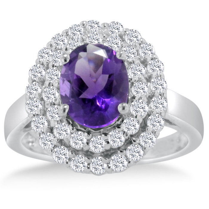 2.5 Carat Oval Amethyst & Diamond Ring Crafted in Solid 14K White