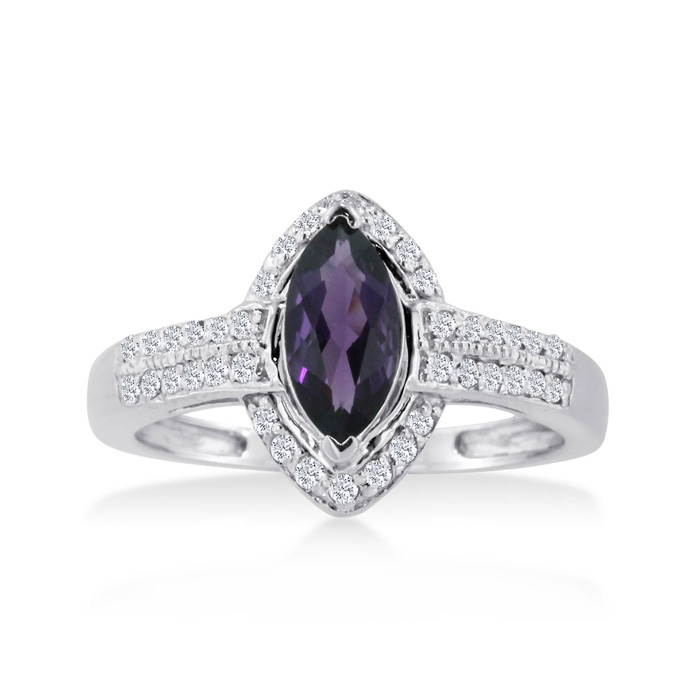 1 Carat Marquise Amethyst & Diamond Ring Crafted in Solid 14K White Gold, I/J by SuperJeweler