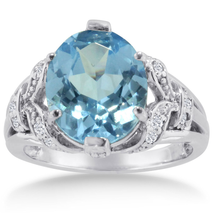 6 Carat Oval Blue Topaz & Diamond Ring Crafted in Solid 14K White Gold, I/J by SuperJeweler