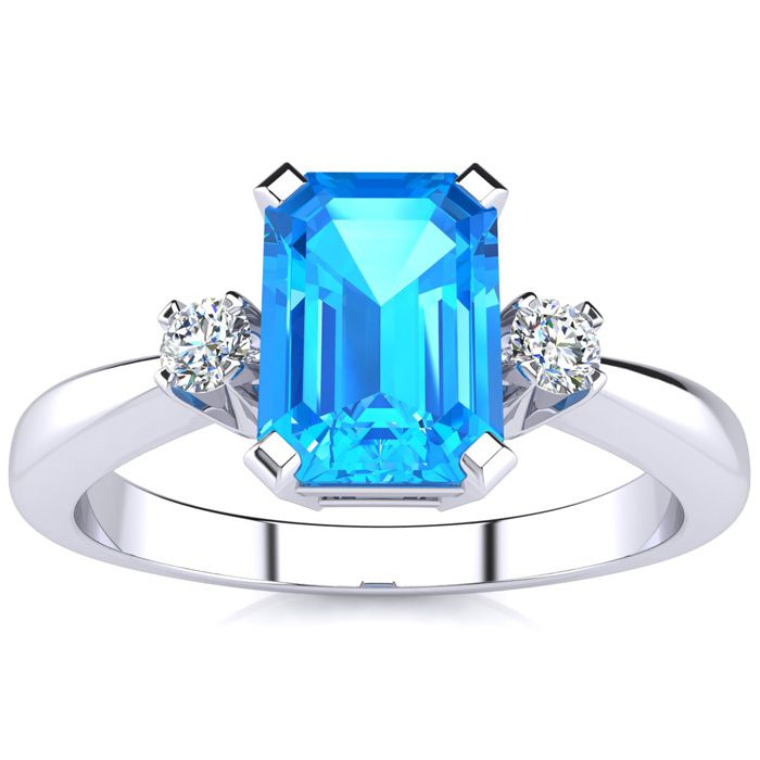 3 Carat Blue Topaz & Diamond Ring Crafted in Solid 14K White Gold, I/J by SuperJeweler
