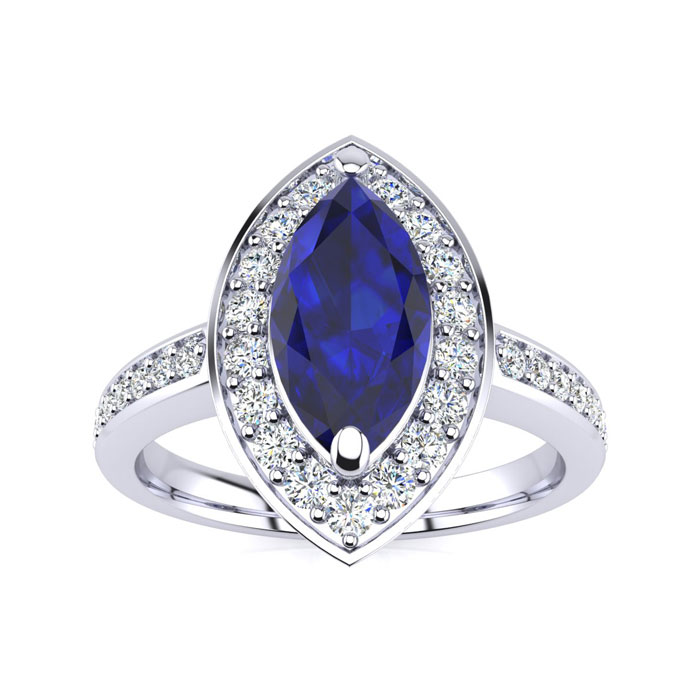 1ct Marquise Blue Sapphire and Diamond Ring Crafted In Solid 14K White Gold