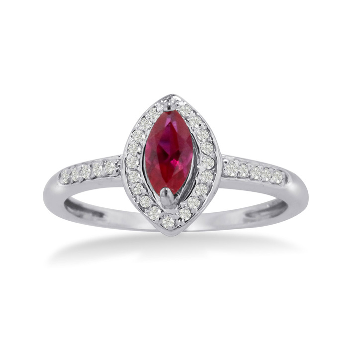 3/4 Carat Marquise Ruby & Diamond Ring Crafted in Solid 14K White Gold, I/J by SuperJeweler