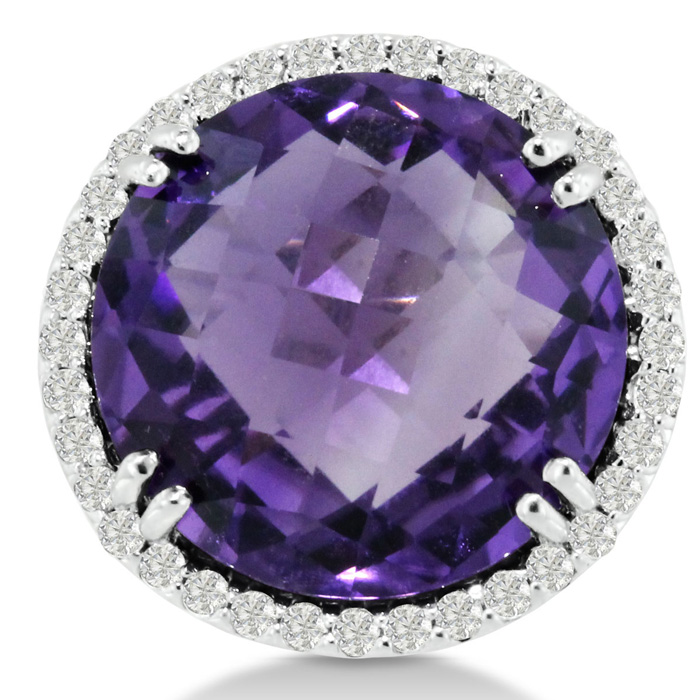 19 Carat Round Amethyst & Diamond Ring Crafted in Solid 14K White