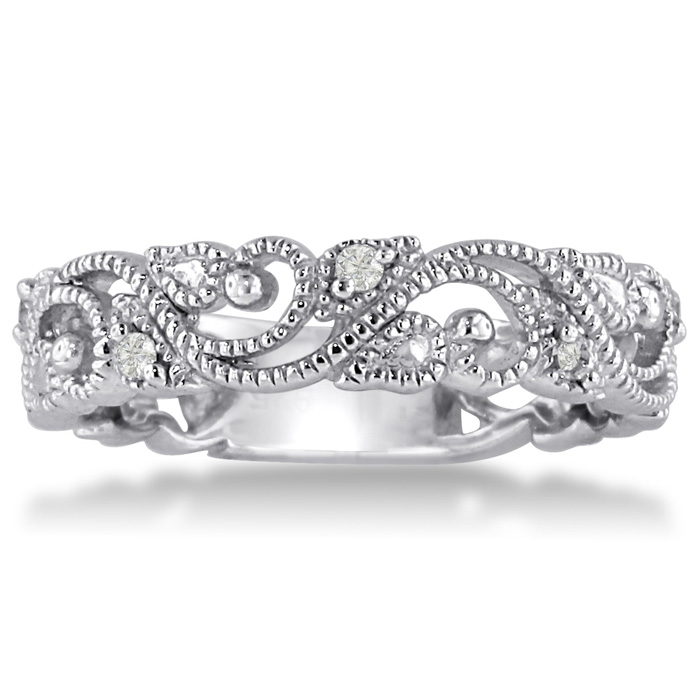 Floral Inspired Weddings Band w/ Diamonds Crafted in Solid 14K White Gold, I/J by SuperJeweler