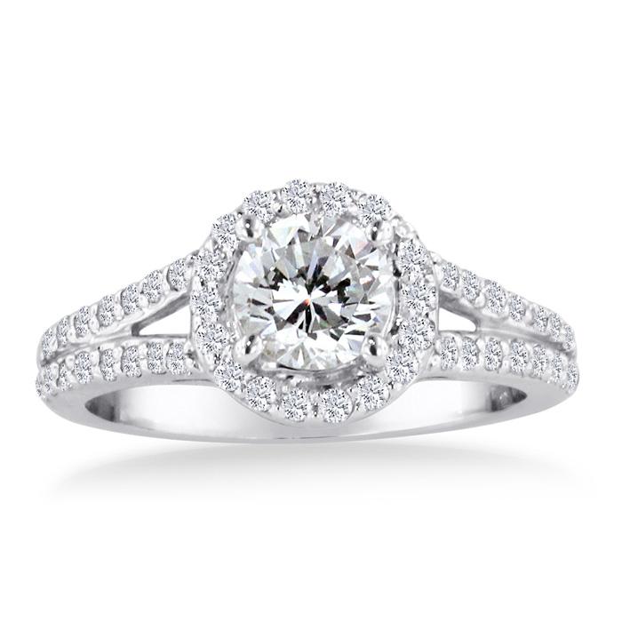 1 Carat Round Diamond Halo Engagement Ring in 14K White Gold (H-I