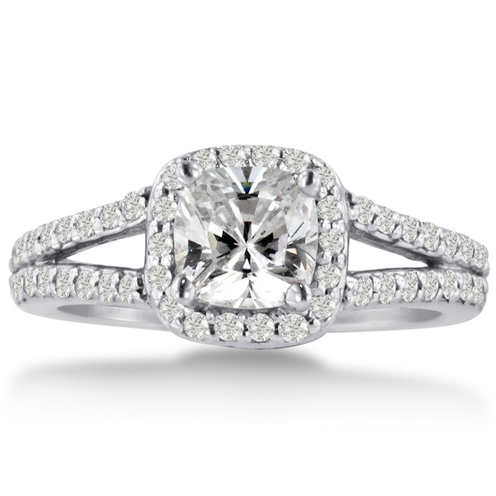 1ct Cushion Cut Diamond Halo Engagement Ring Crafted In Solid 14K White Gold