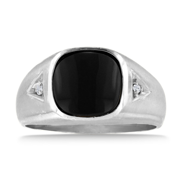Image of Cabochon Black Onyx and Diamond Men's Ring Crafted In Solid White Gold