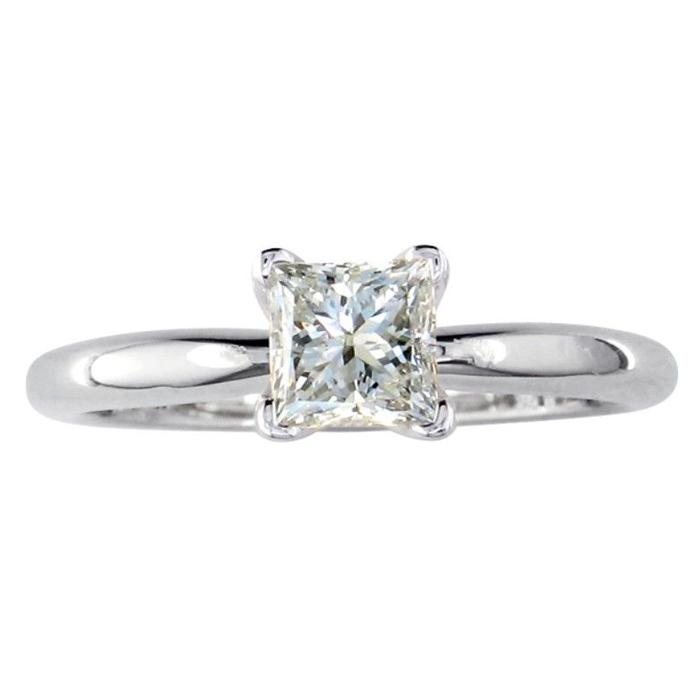 1/2 Carat Platinum Princess Cut Diamond Solitaire Engagement Ring