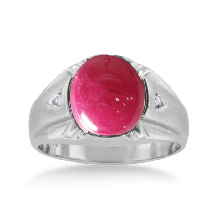 4 1/2 Carat Oval Cabochon Created Ruby & Diamond Mens Ring Crafted in Solid White Gold, I/J by SuperJeweler