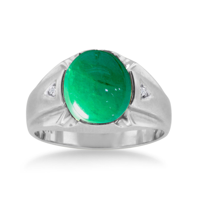 4 1/2 Carat Oval Cabochon Created Emerald Cut & Diamond Mens Ring Crafted in Solid White Gold, I/J by SuperJeweler