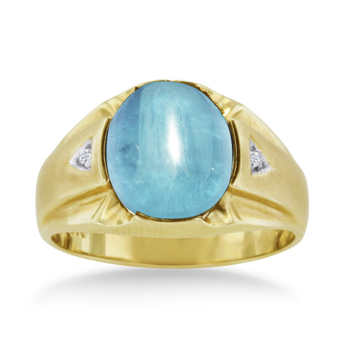 4 1/2 Carat Oval Cabochon Blue Topaz & Diamond Mens Ring Crafted in Solid Yellow Gold, I/J by SuperJeweler