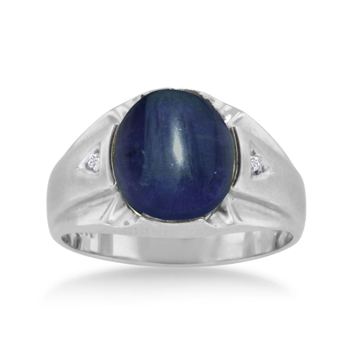 4 1/2 Carat Oval Cabochon Created Sapphire & Diamond Mens Ring Crafted in Solid 14K White Gold, I/J by SuperJeweler