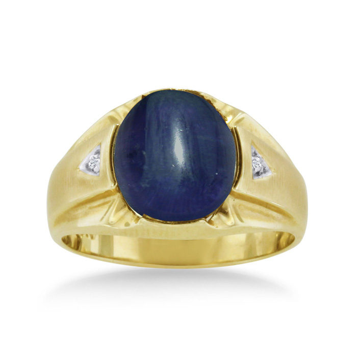 4 1/2 Carat Oval Cabochon Created Sapphire & Diamond Mens Ring Crafted in Solid 14K Yellow Gold, I/J by SuperJeweler