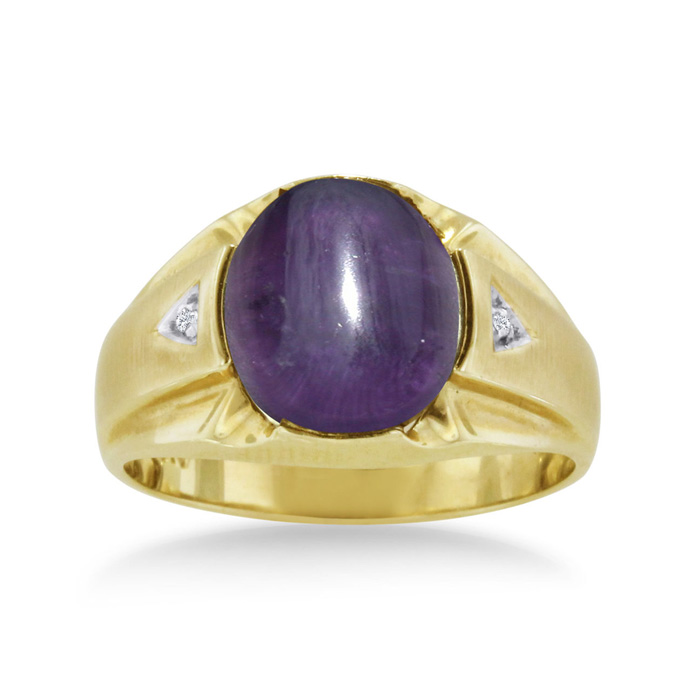 4 1/2 Carat Oval Cabochon Amethyst & Diamond Mens Ring Crafted in