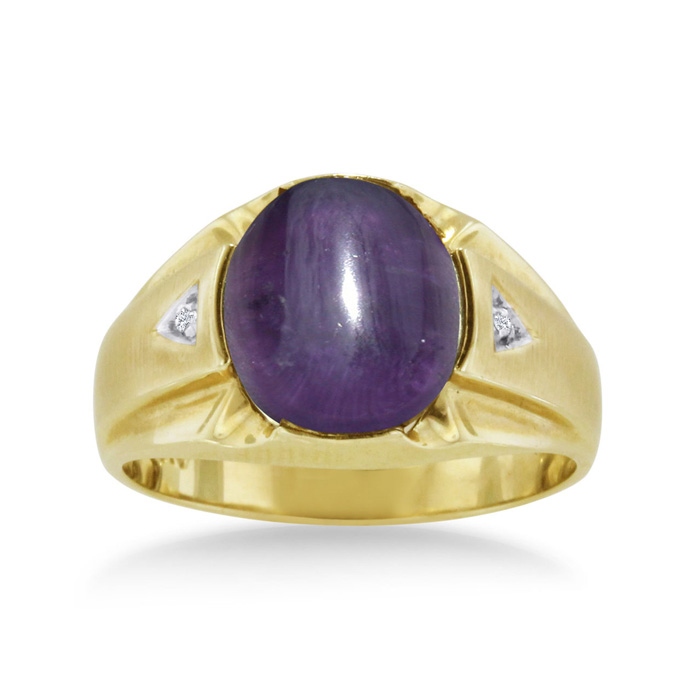 4 1/2 Carat Oval Cabochon Amethyst & Diamond Mens Ring Crafted in Solid 14K Yellow Gold, I/J by SuperJeweler