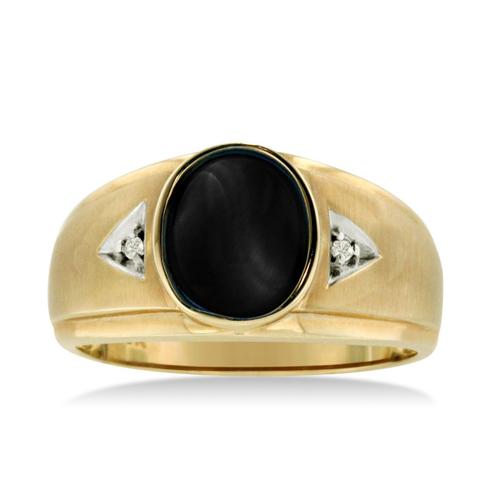 Oval Black Onyx & Diamond Mens Ring Crafted in Solid 14K Yellow G