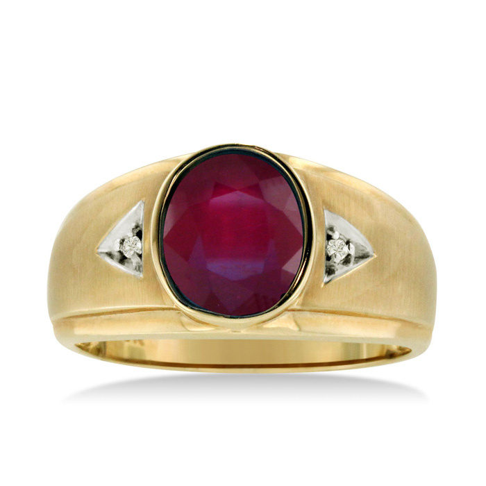 2.5 Carat Oval Created Ruby & Diamond Mens Ring Crafted in Solid Yellow Gold, I/J by SuperJeweler