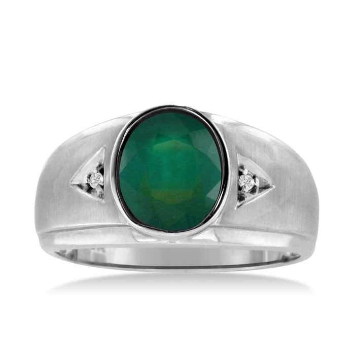 2.5 Carat Oval Created Emerald Cut & Diamond Mens Ring Crafted in Solid White Gold, I/J by SuperJeweler
