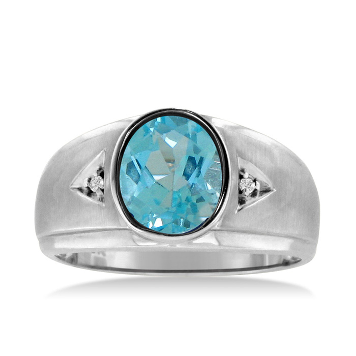 2.5 Carat Oval Blue Topaz & Diamond Mens Ring Crafted in Solid White Gold, I/J by SuperJeweler