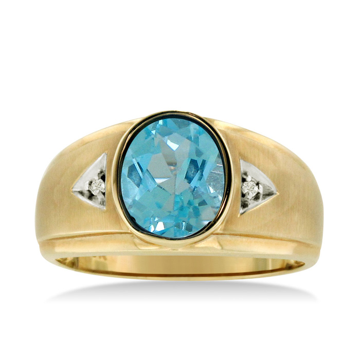 2.5 Carat Oval Blue Topaz & Diamond Mens Ring Crafted in Solid Yellow Gold, I/J by SuperJeweler