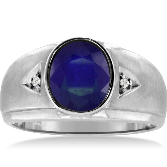 2.5 Carat Oval Created Sapphire & Diamond Mens Ring Crafted in Solid White Gold, I/J by SuperJeweler