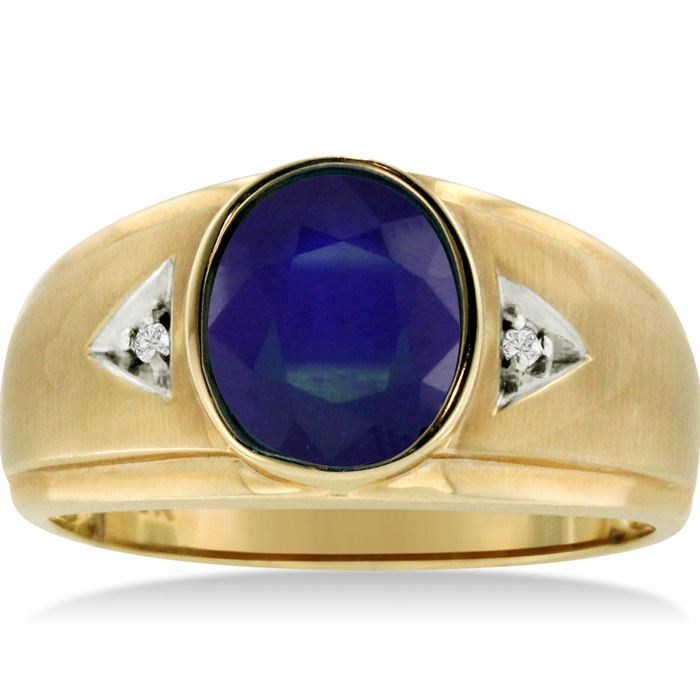 2.5 Carat Oval Created Sapphire & Diamond Mens Ring Crafted in Solid Yellow Gold, I/J by SuperJeweler