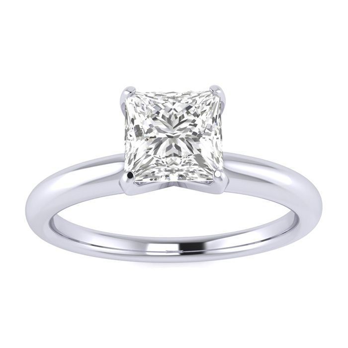 3/4 Carat Princess Cut Diamond Solitaire Ring in Platinum (H-I, SI2-I1) by Hansa