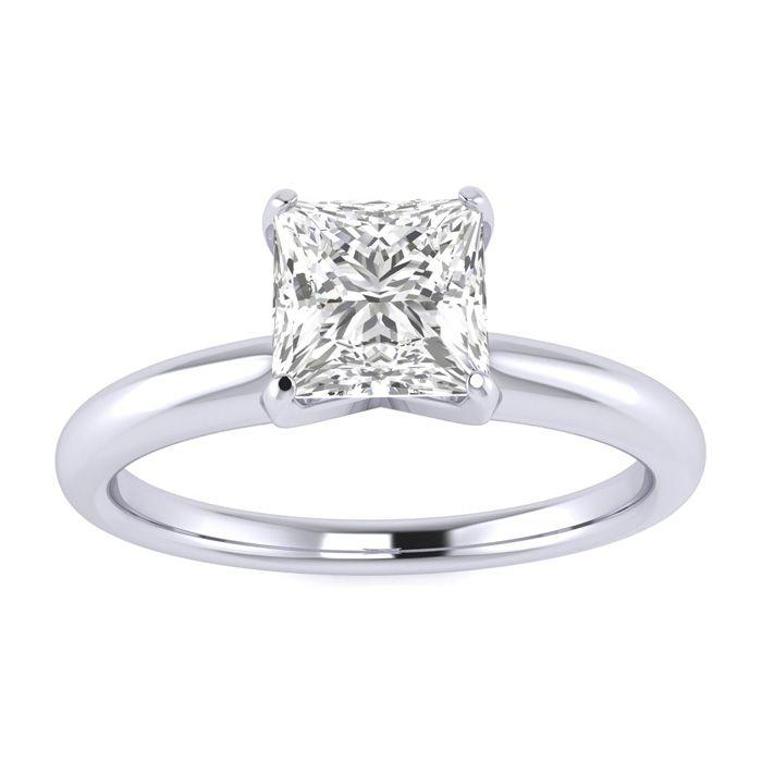 3/4 Carat Princess Cut Diamond Solitaire Ring in Platinum (H-I, S