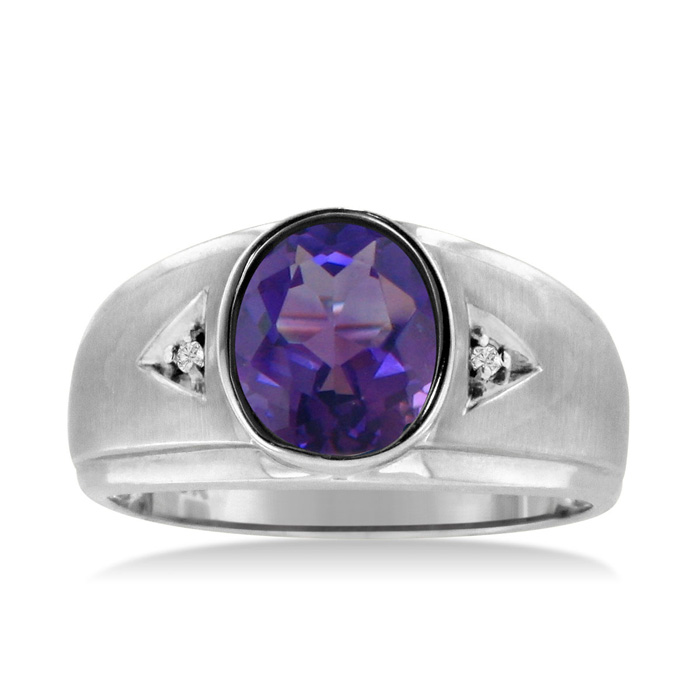 2.5 Carat Oval Amethyst & Diamond Mens Ring Crafted in Solid White Gold, I/J by SuperJeweler