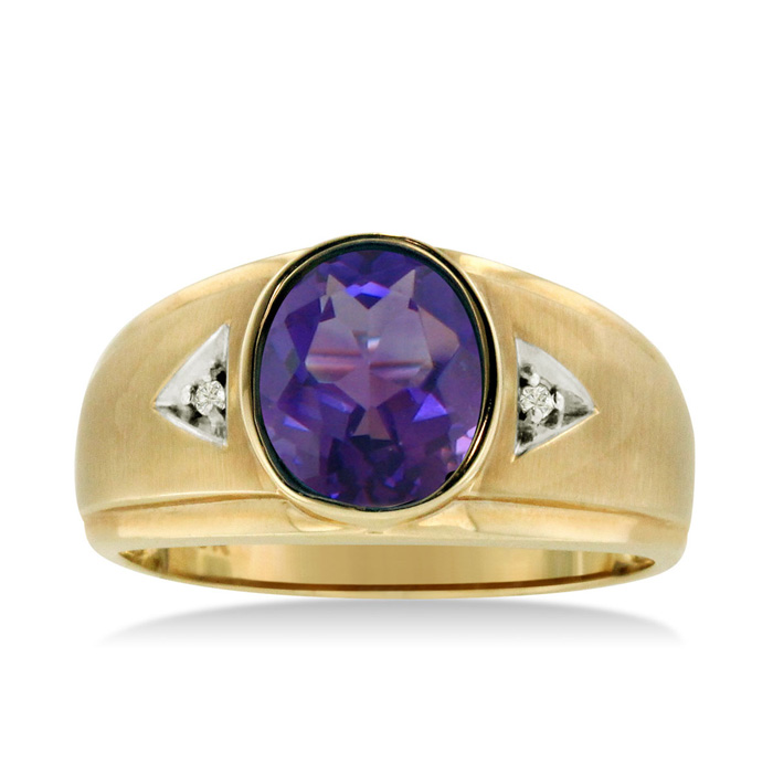 2.5 Carat Oval Amethyst & Diamond Mens Ring Crafted in Solid Yellow Gold, I/J by SuperJeweler