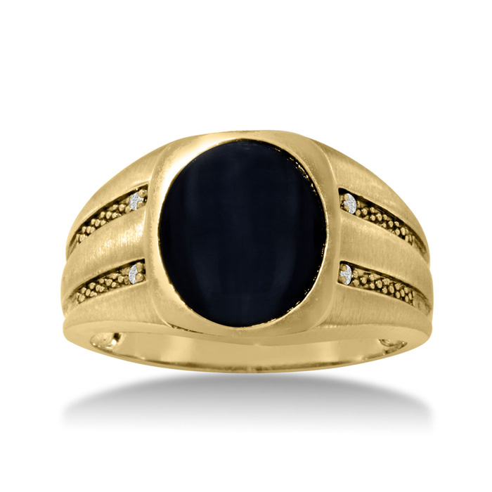 Oval Black Onyx & Diamond Mens Ring Crafted in Solid Yellow Gold