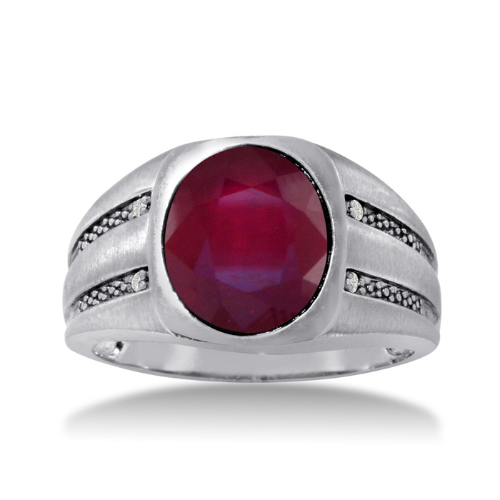 4 1/2 Carat Oval Created Ruby & Diamond Mens Ring Crafted in Solid 14K White Gold, I/J, Size 11 by SuperJeweler