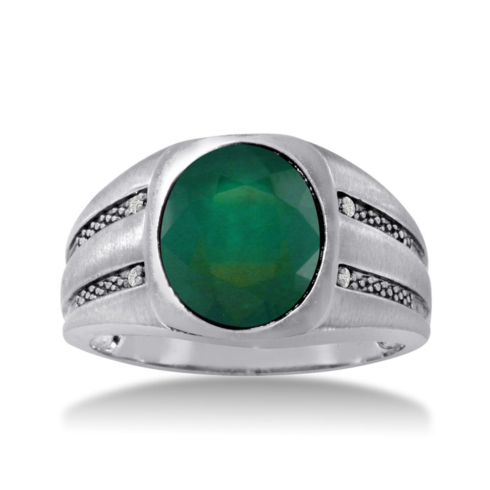 4 1/2 Carat Oval Created Emerald Cut & Diamond Mens Ring Crafted in Solid White Gold, I/J by SuperJeweler