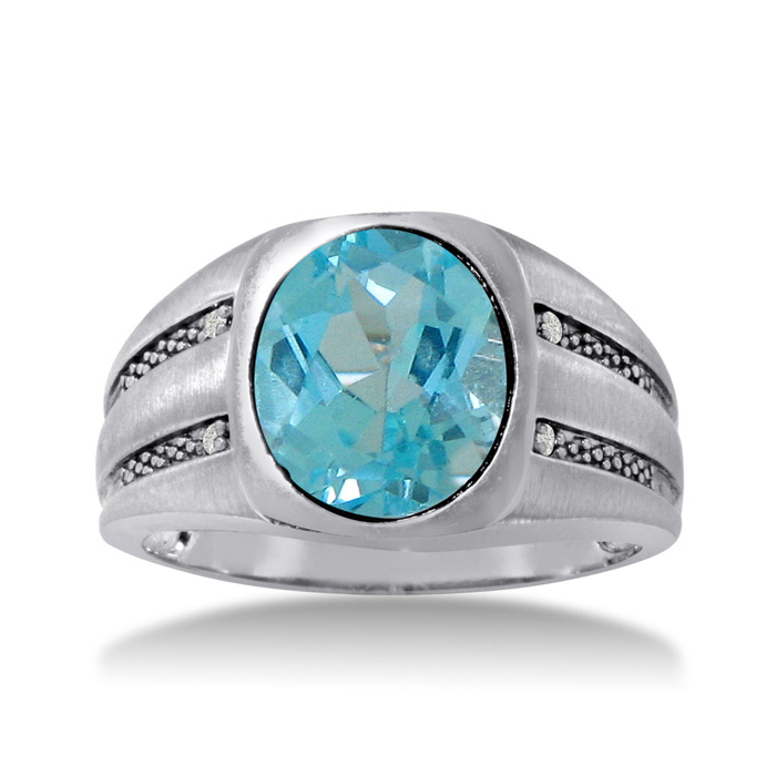 4 1/2 Carat Oval Blue Topaz & Diamond Mens Ring Crafted in Solid White Gold, I/J by SuperJeweler