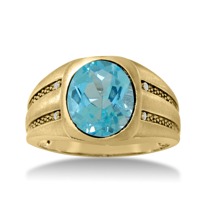 4 1/2 Carat Oval Blue Topaz & Diamond Mens Ring Crafted in Solid 14K Yellow Gold, I/J by SuperJeweler