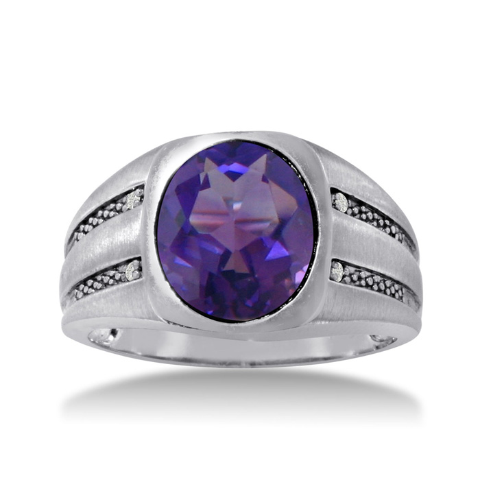 4 1/2 Carat Oval Amethyst & Diamond Mens Ring Crafted in Solid Wh