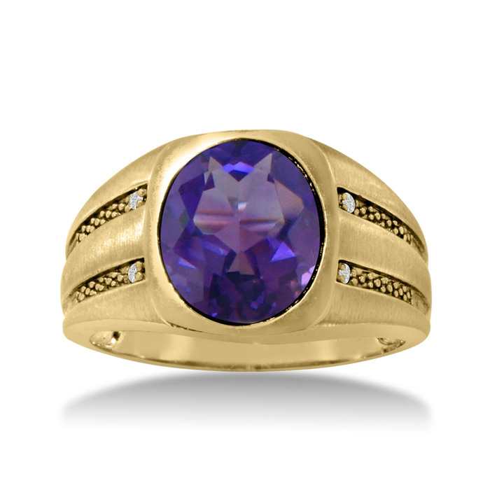 4 1/2 Carat Oval Amethyst & Diamond Mens Ring Crafted in Solid Ye
