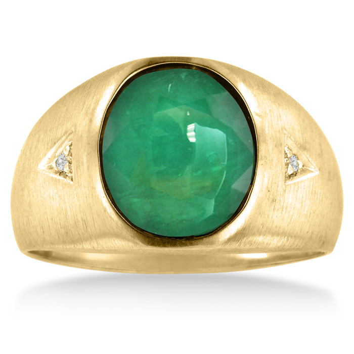 4 1/2 Carat Cabochon Cut Created Emerald Cut & Diamond Mens Ring Crafted in Solid Yellow Gold, I/J by SuperJeweler